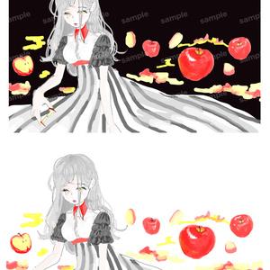 林檎 黒と赤