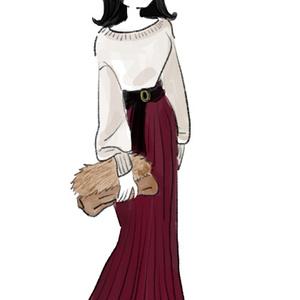 赤茶のロングスカート(秋冬)