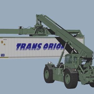 リーチスタッカー RT-240 アメリカ海兵隊仕様と付属冷凍コンテナ