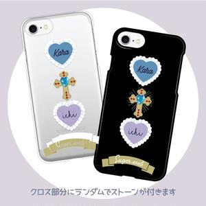 こっそりカラ一♡iPhoneケース - クリア/ブラック