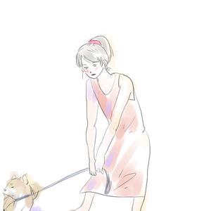 敷波と柴犬ポストカード イヤイヤ