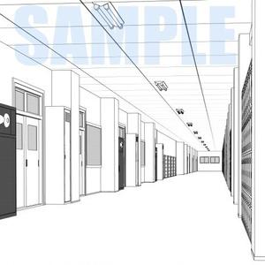 学校廊下線画1