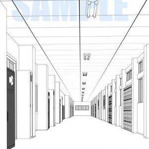 学校廊下線画2