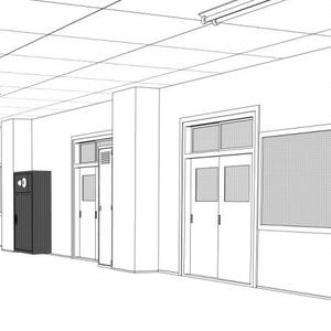 学校廊下線画3