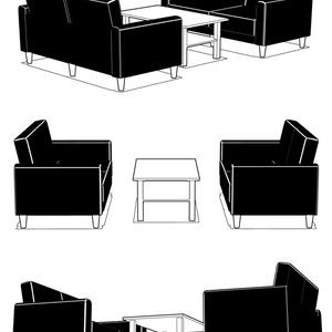 3Dソファとテーブル
