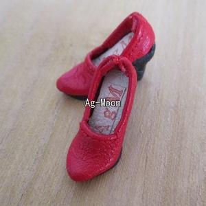 F型(オビツ11対応)ハイヒール 30:緋色(靴底:黒)