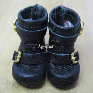 F型(オビツ11対応サイズ)エンジニアブーツショート(バックル:ゴールド 靴底:黒)