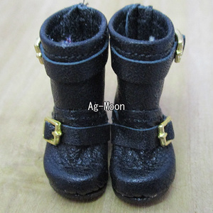 F型(オビツ11対応サイズ)エンジニアブーツミドル(バックル:ゴールド 靴底:黒)
