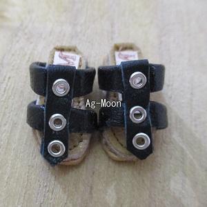 F型(オビツ11対応サイズ)グラディエーターサンダル 50:黒
