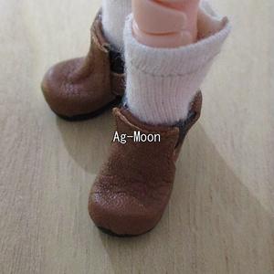 F型(オビツ11対応サイズ)サイドゴアブーツ11:茶(靴底:黒)