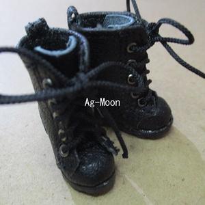 Fオビツ11対応サイズ 靴底黒 新型靴底軍靴 ミドル丈 50:黒 ハトメ:アンティークシルバー