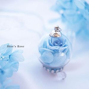 薔薇と紫陽花のペンダント(ロイヤルブルー)