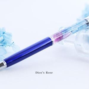 紫陽花のハーバリウムボールペン・シルバー