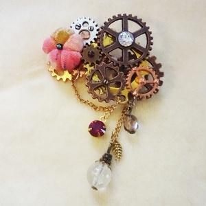 花と歯車ブローチ