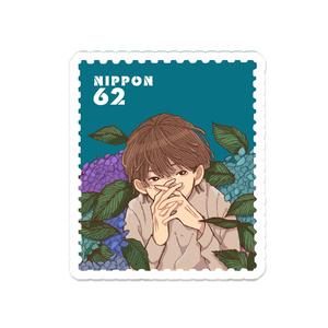 紫陽花×少年 切手風アクリルバッジバッジ