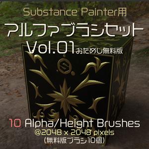 Substance Painter用 アルファブラシセット Vol.01 お試し無料版