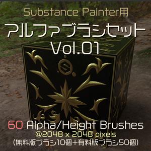 Substance Painter用 アルファブラシセット Vol.01