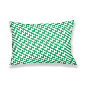 千馬格子枕カバー(ホワイトXグリーン)