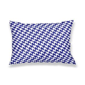 千馬格子枕カバー(ホワイトXブルー)