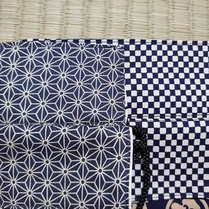 和柄巾着*家紋柄×麻の葉