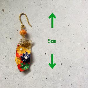 リサイクル素材 千代紙の和風ピアス
