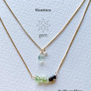 gem double necklace &bracelet set