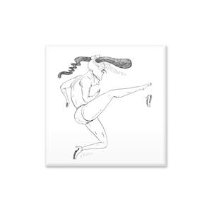 木村正三郎ブランド 美フォルムパンプスの広告 缶バッジ オリジナル漫画[スーパーモデル堕犬]より