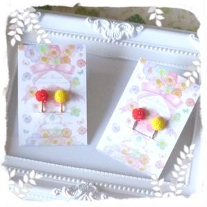 薔薇と菊のイヤリング
