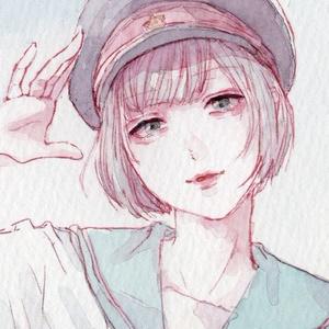 セーラー服と帽子【ミニ原画】