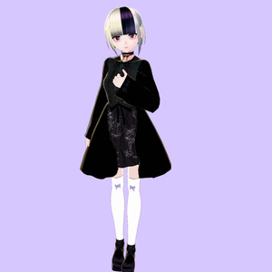 チョーカー付きゴシックワンピ💜【VRoidテクスチャ】