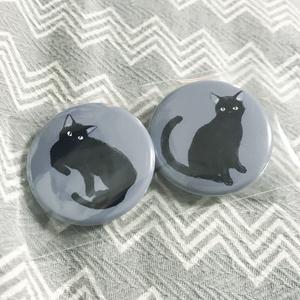 黒猫缶バッジ - 2個セット