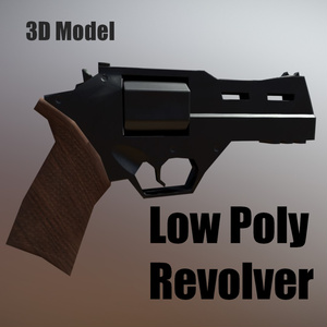 Low Poly Revolver 3D Model