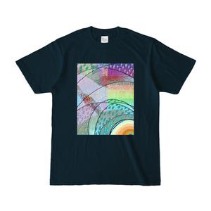 デジタル絵画「にわか雨」Tシャツ[ネイビー]