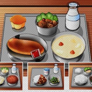 懐かしの給食のイラスト背景素材