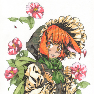 【色紙】フリルのフードと椿