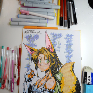 【色紙】藤の花と金髪