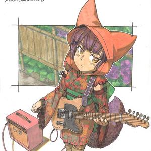 【色紙】辻弾きテレキャスとピンクのアンプ
