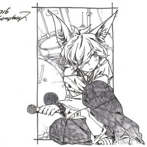【グレースケール絵】バンド狐4枚セット