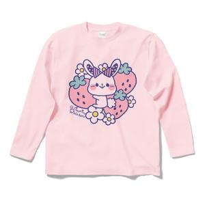 * いちごうさぎ * ロングスリーブTシャツ - ライトピンク