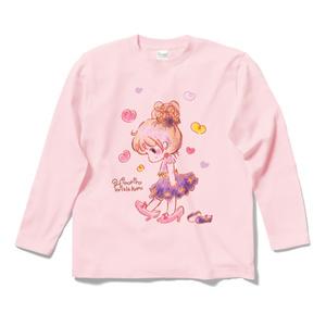 ♡ ママのくつ ♡ ロングスリーブTシャツ - ライトピンク