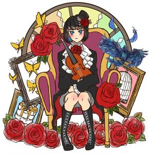 麗さんアクリルキーホルダー(赤薔薇)
