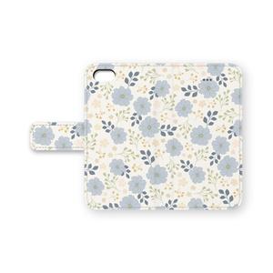 手帳型 iPhoneケース Blue Flower