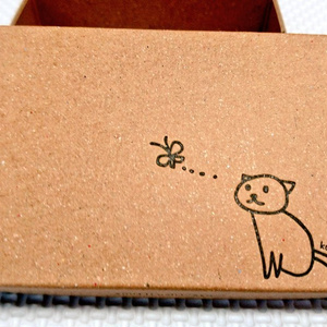 猫の名刺ケース(活版印刷の箱)