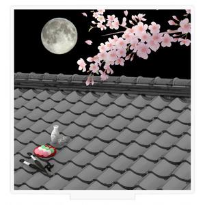 アクリル背景(屋根上の月夜桜)