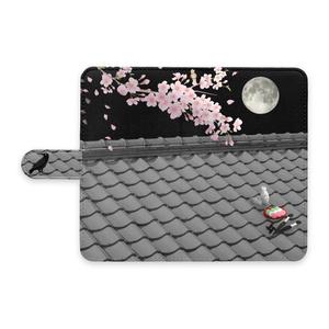 手帳型Androidケース(屋根上の月夜桜)