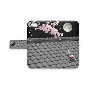 手帳型iPhoneケース(屋根上の月夜桜)