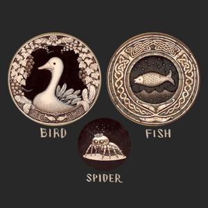 缶バッヂ3個セット セピア ( 鳥 / 魚 / 子蜘蛛 )