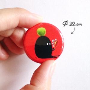 缶バッヂ3個セット 赤 ( 花 / りんご / どくろ )