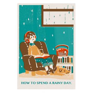 ポストカード 雨の日 <レトロ印刷>