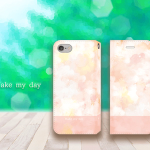 【iPhone手帳型ケース】make my dayピンク